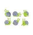 cute green snail collection funny mollusk animal vector image