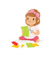 cute little girl utting an application details vector image vector image