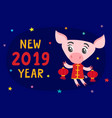 cute pig in chinese costume with lanterns isolated vector image