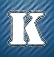 Denim jeans letter K vector image