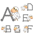 Design ABC with funny cartoon sheep vector image vector image