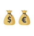 dollar cash sack and euro money bag icon vector image vector image