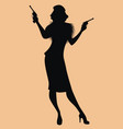 elegant silhouette a lady in retro style vector image