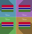 Flags Gambia Set of colors flat design and long vector image vector image