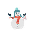 flat cheerful snowman in hat scarf vector image