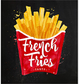 French fies chalk vector image vector image