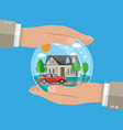 hands agent protect house and car vector image