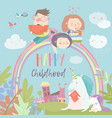 happy kids on rainbow with magical unicorns vector image vector image