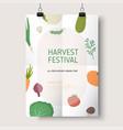 harvest festival or farmers market flyer poster vector image vector image