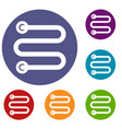 heated towel rail icons set vector image vector image
