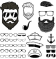 Hipster hair and beards set of design elements vector image