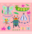 insects hand drawn bugs modern collection vector image