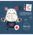 Jeans background with cute hippo Converted vector image vector image