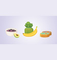 juices and purees from green apples and broccoli vector image vector image