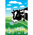 Kind cow on a meadow vector image