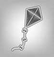 kite sign pencil sketch imitation dark vector image vector image