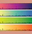 kyoto multiple color gradient skyline banner vector image