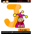 letter j with jester cartoon vector image