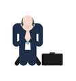 man is praying on his knees prayer to god vector image vector image