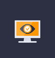 monitoring icon eye on computer screen vector image