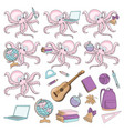 octopus pupil school autumn sea underwater vector image vector image