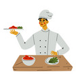 professional male chef serving dishes kitchener vector image vector image