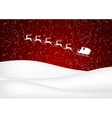 santa claus rides in a sleigh reindeer on red vector image