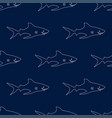 seamless pattern cute sharks isolated on dark vector image vector image