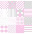 seamless patterns for baby girl shower party vector image