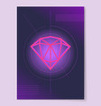 sketch of precious diamond on circle lines crystal vector image