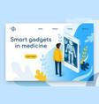 smart gadgets in medicine isometric website vector image
