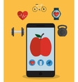 Smartphone and fitness icon set design vector image vector image