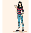 Smiling standing fashionable teenager in jeans vector image vector image