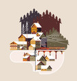snowy winter landscape with coniferous forest vector image vector image