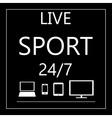 Sport live on all mobile devices - laptop smart vector image vector image