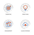 targeting great idea management cloud storage set vector image vector image