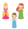 Three Princesses in Cartoon Style Queen vector image vector image