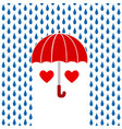 two red hearts under red umbrella on rain vector image vector image