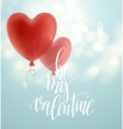 Valentines day greeting card with red heart shape vector image vector image
