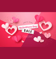 valentines day pink paper cut heart sale template vector image vector image