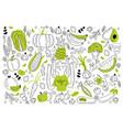 vegan food doodle set vector image