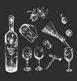 white on dark background wine and cheese set vector image