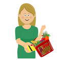 young woman holding basket giving a credit card vector image vector image