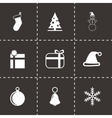 black christmas icon set vector image