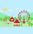 amusement park flat style a ferris wheel vector image