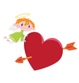 angel boy and heart vector image vector image