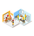 burger kitchen isometric composition vector image vector image