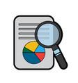 business document graph chart diagram magnifier vector image