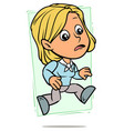 cartoon running blonde girl character vector image