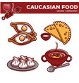 caucasian cuisine food traditional dishes vector image vector image